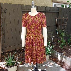 LuLaRoe Burgandy & Gold back zip dress sz Large